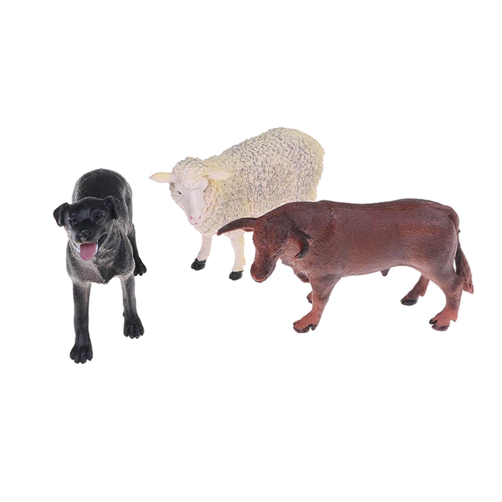 6Pcs simulated farm animal sheep dog horse donkey ox cow set plastic model toys Beautiful Speace