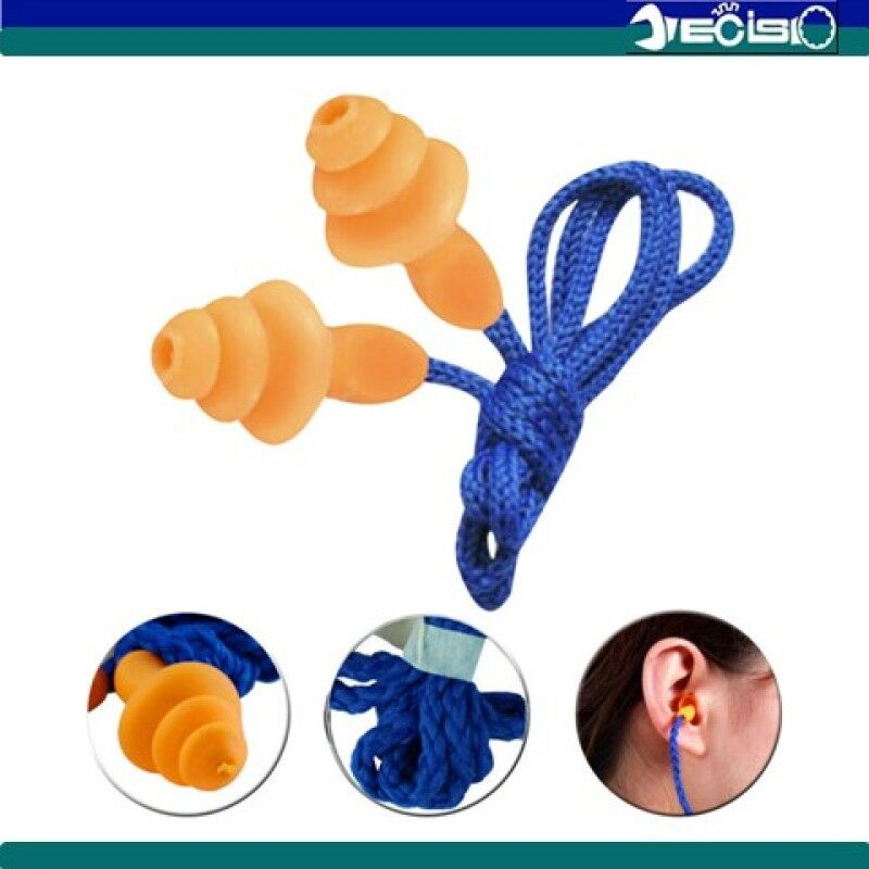 Reusable Waterproof Safety Silicon Corded Ear Plug / Earplugs for Noise Protection