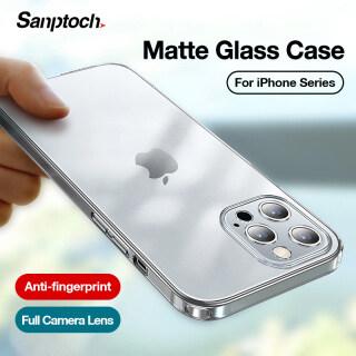 Ốp Lưng Trong Suốt Bằng Kính Mờ Sanptoch, Cho iPhone 11 12 Pro Max Ốp Điện Thoại Ống Kính Máy Ảnh Toàn Bộ Dành Cho iPhone 12 Mini Ốp Bảo Vệ Chống Sốc Trong Suốt thumbnail