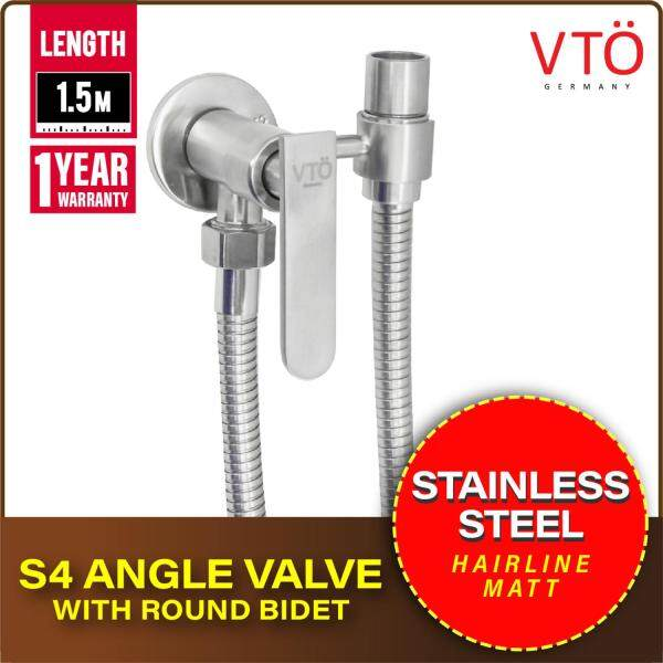 VTO S4 Angle Valve with Round Bidet Shower Hose 1.5m Stainless Steel Flexible Hose Pipes Connector Bathroom Accessories 570-A4104-04 (Hairline / Matt)