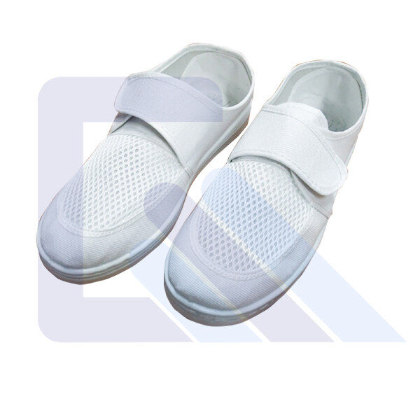 Blue/White Cleanroom ESD Canvas Mesh Fabric Breathable Shoes