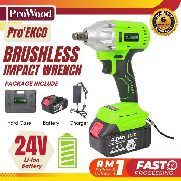 EK-BIW 24v ProEKCO Brushless Impact Wrench, LED Powerful Tool High Torque with Hard Case