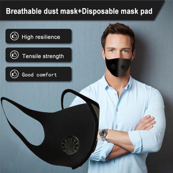 Unisex PM2.5 Reusable Washable Anti Haze Dust Face Mouth Masks with Dual Valves
