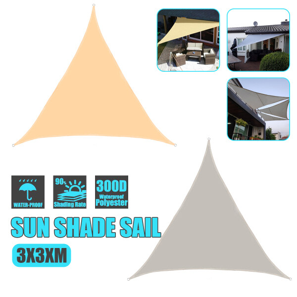 3x3x3m Waterproof Sun Shade Triangle Outdoor Sail Awnings For Garden Terrace
