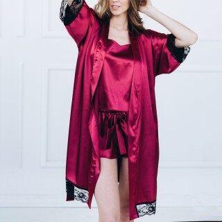 Đồ Ngủ Buộc Dây Gợi Cảm Cho Nữ, Bộ 2 Chiếc Áo Choàng Ngủ + Viền Ren Lưng Chữ T Ngoại Cỡ thumbnail