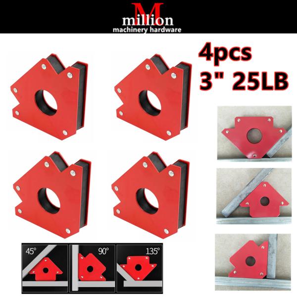 millionhardware - ( 4pcs ) 25LB 3 Magnetic Welding Angle Magnet Holder Corner Arrow Support