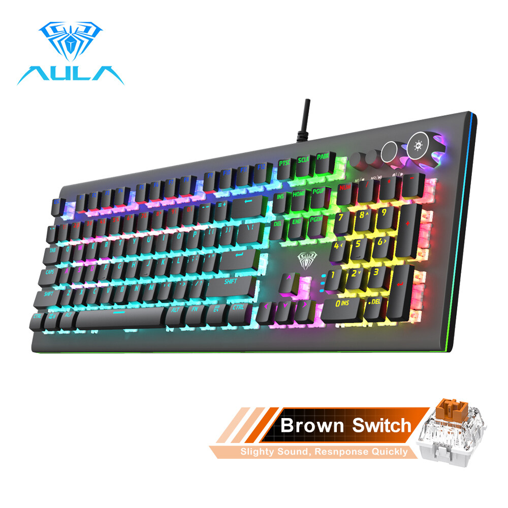 AULA S2096  Mechanical Gaming Keyboard Multimedia Alloy lighting Knob 104 keys Anti-ghost Marco Programming, Backlit keyboard for PC Game Singapore