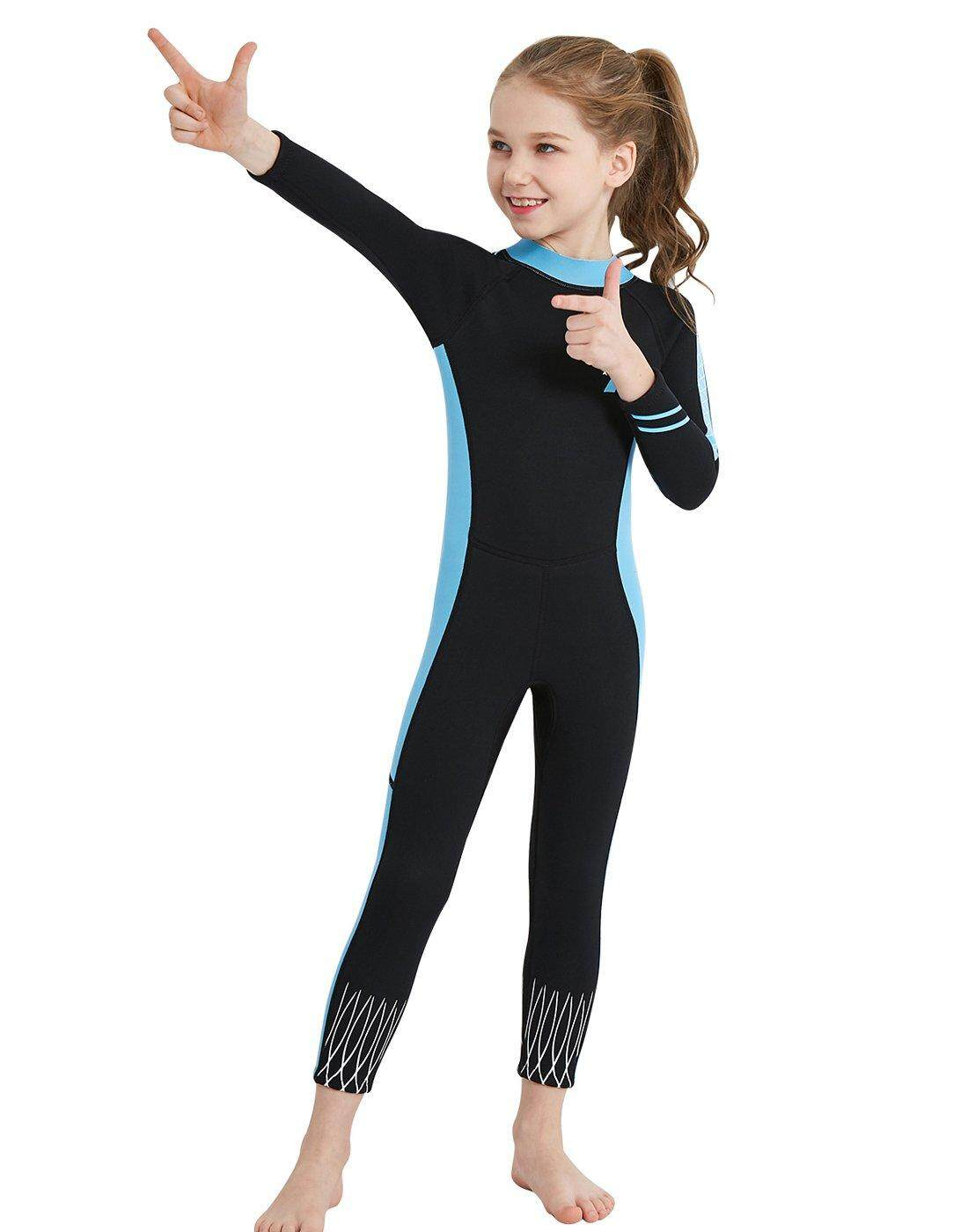 e4772c9a6f DIVE & SAIL Kids Girls 2.5mm Wetsuit Long Sleeve One Piece UV Protection  Thermal Swimsuit