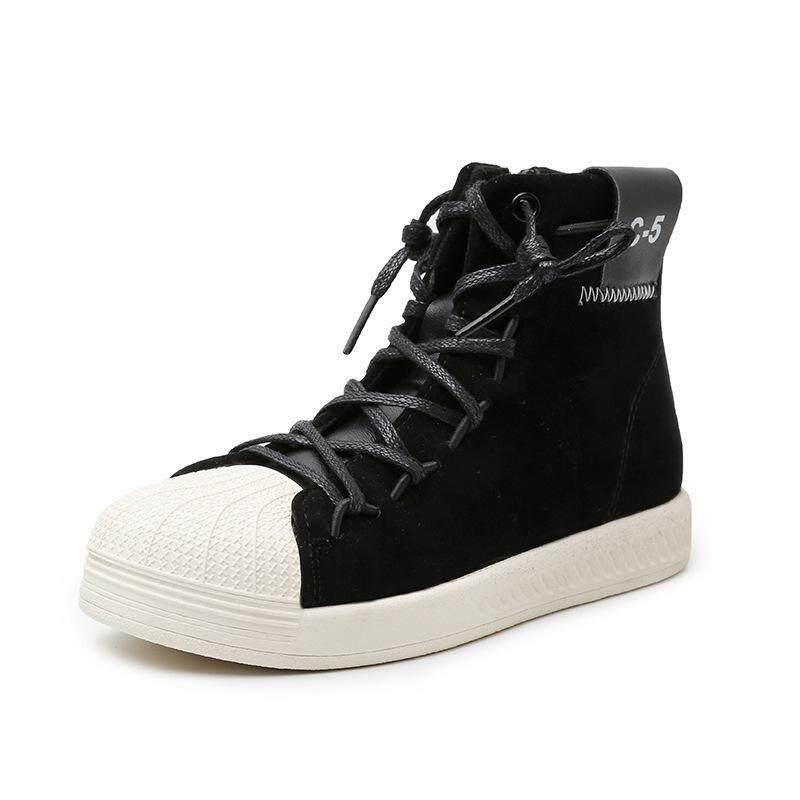 Giá bán 2019 Mới Mùa Thu Và Mùa Đông Trẻ Em Vỏ Đầu Ban Giày Đá Poly Vàng Óng Cao-TOP Giày Thường