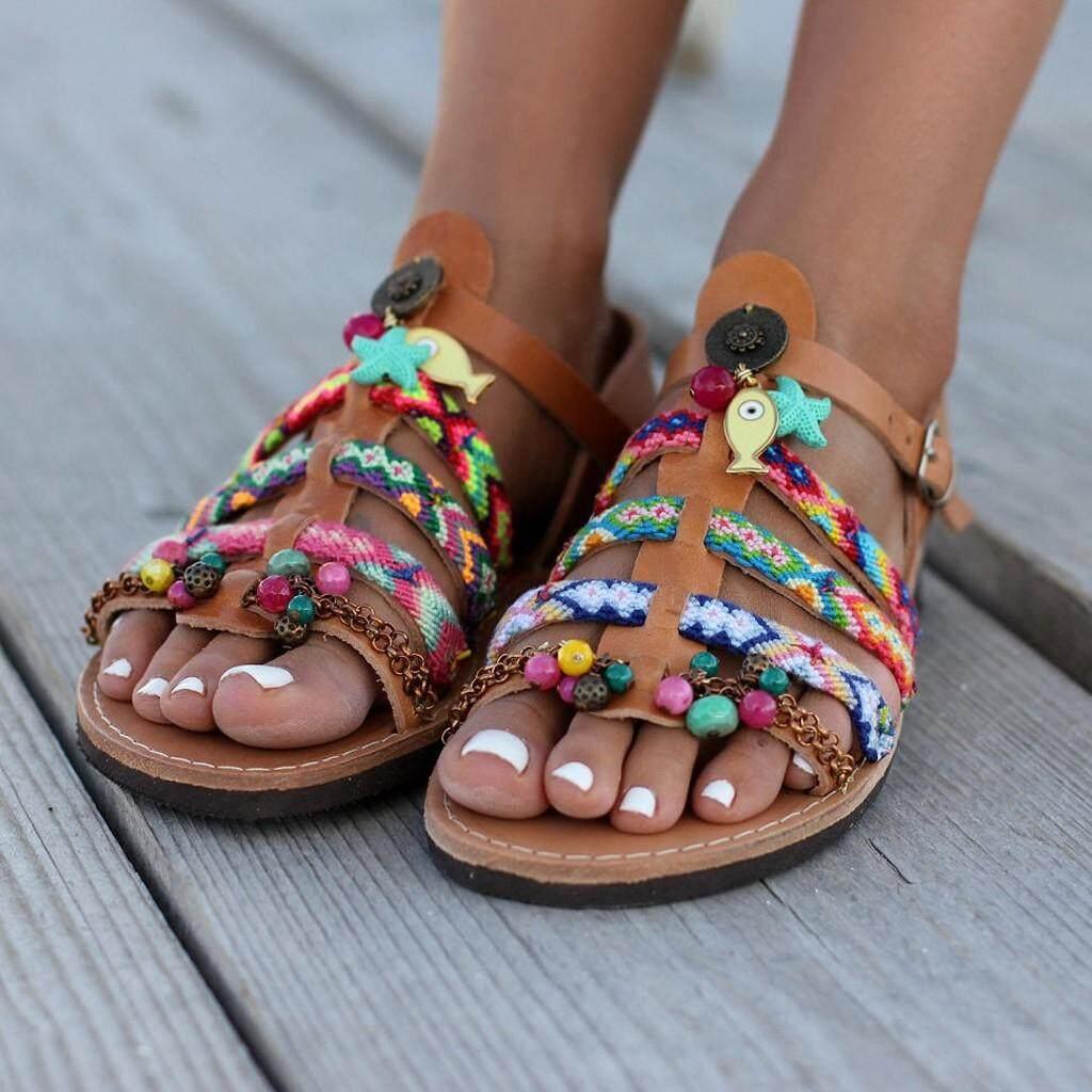 Mã Khuyến Mại Khi Mua Wilk65555 Nhiều Màu Sắc Dân Tộc Bohemia Mùa Hè Giày Sandal Nữ Võ Sĩ Giác Đấu Giày Flat