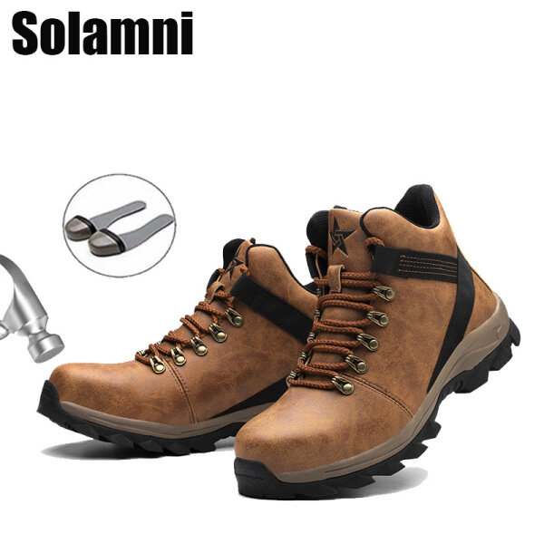 Men New Leather Safety Shoes Anti-piercing Anti-puncture Work Shoes Non-slip Waterproof High Top Safety Boots Protective Safety Shoes