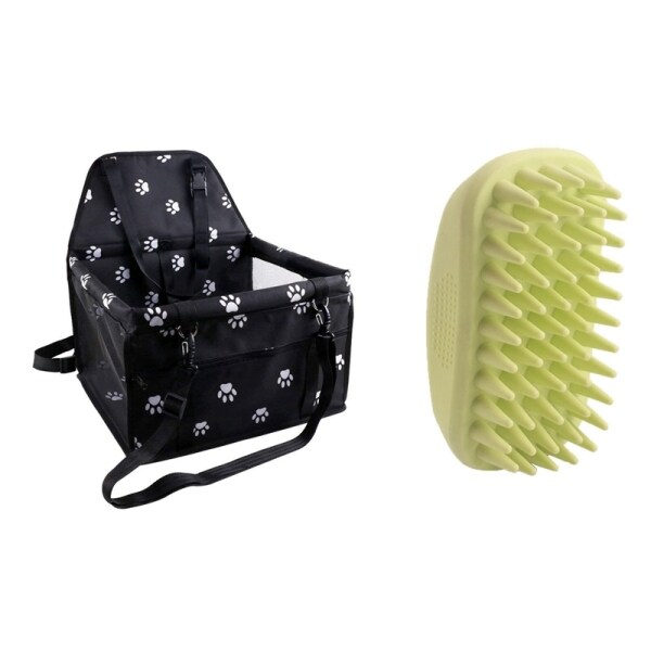 Pet Reinforce Car Booster Seat for Travel Look Out with Dog Bath Brush Pet Bath Tool Pet Rubber