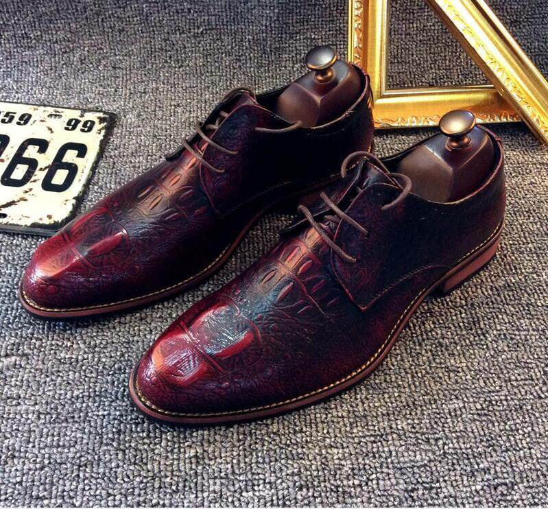 Genuine Leather Mens Dress Shoes Oxford Shoes For Men Formal Wedding Shoes Luxury Brand Business Crocodile Shoes Sapato Social By Clubtrade.