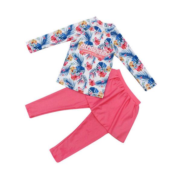 Nơi bán Cái/bộ 2 Món Đồ Bơi Bé Gái Bộ Váy Quần Dài Tay + Công Chúa In Họa Tiết Xẻ Tà, Dành Cho Trẻ 5-11 Tuổi