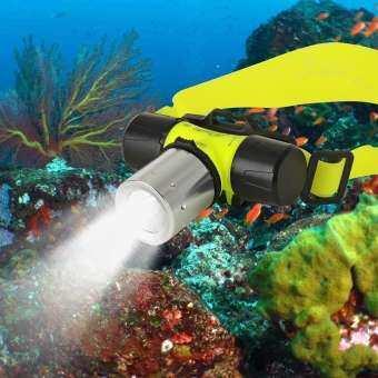 กันน้ำ XML T6 2000 Lumen ใต้น้ำ 20 M ไฟฉาย LED 18650 ไฟหน้าไฟหน้า DIVE หัวโคมไฟไฟฉายจักรยานไฟจักรยานสีเหลือง