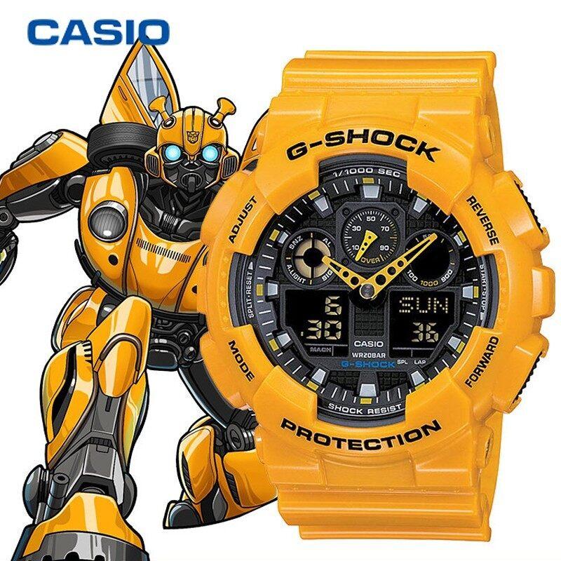 Leo Marketing [100%Original] G-Sh0ck GA-100 Men Sport Digital Watch Waterproof and Shockproof World Time LED Auto Light Wrist Sports Watches GA100/GA-100 Yellow Bumblebee Malaysia