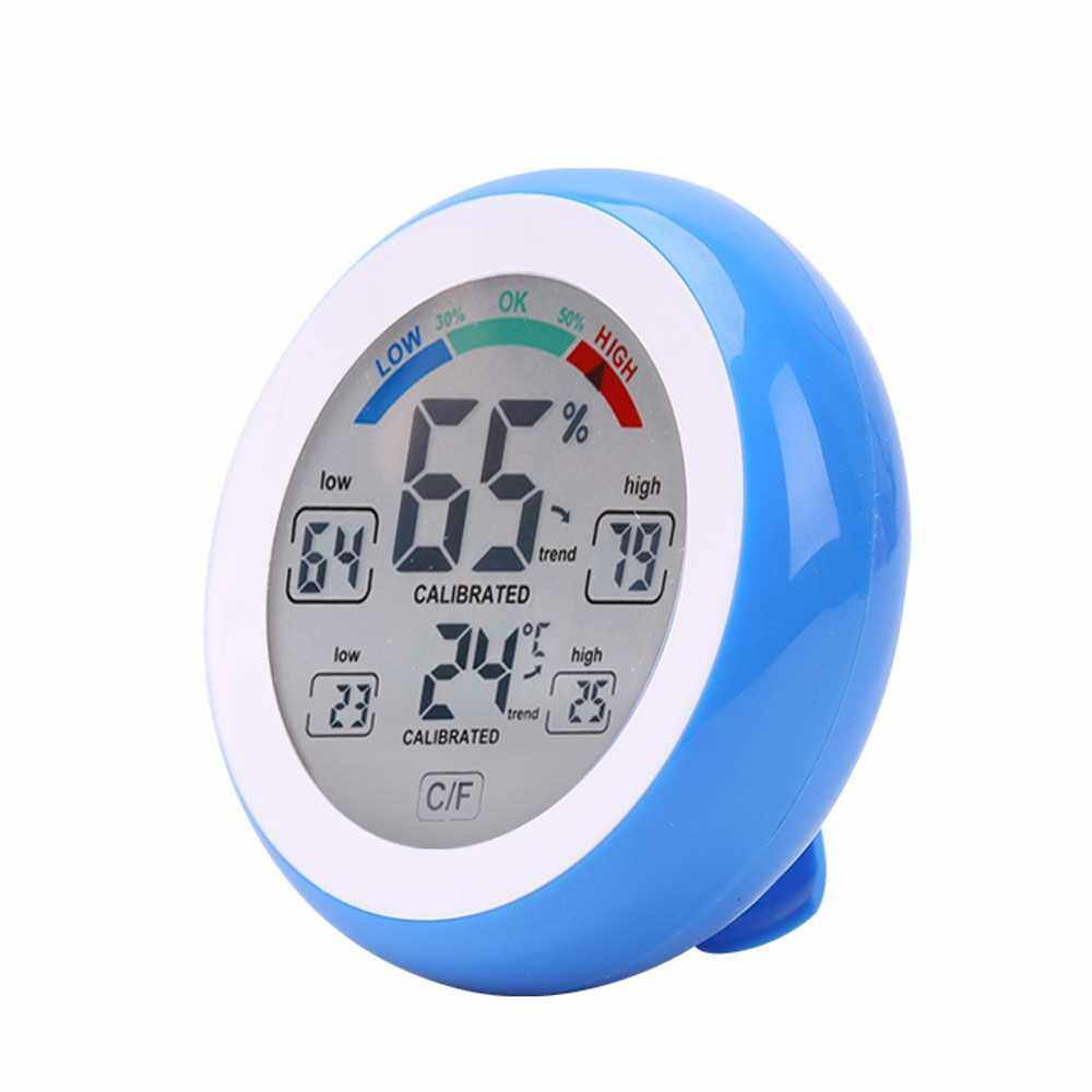 Touch Screen Temperature and Humidity Meter Digital Round Shape Indoor Thermometer and Hygrometer (Blue)