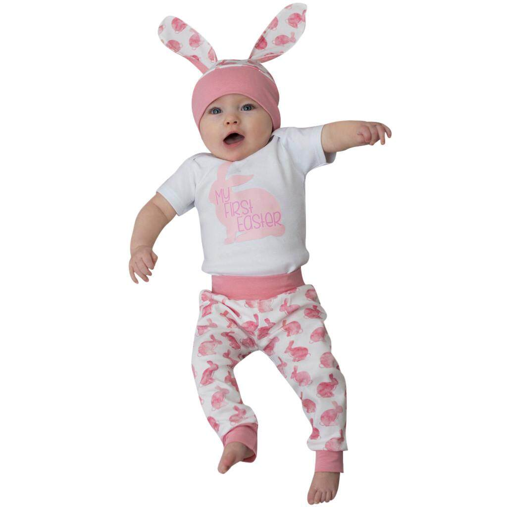 First Easter Newborn Baby Girl Boy Cartoon 3D Bunny Romper Hat Pants Outfits Set