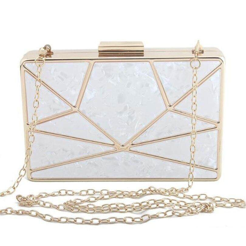 Luxury Brand Design Acrylic Decoration Clutches Women Evening Bags Party Wedding Hand Bag Chain Crossbody Purses Wallet Clutch