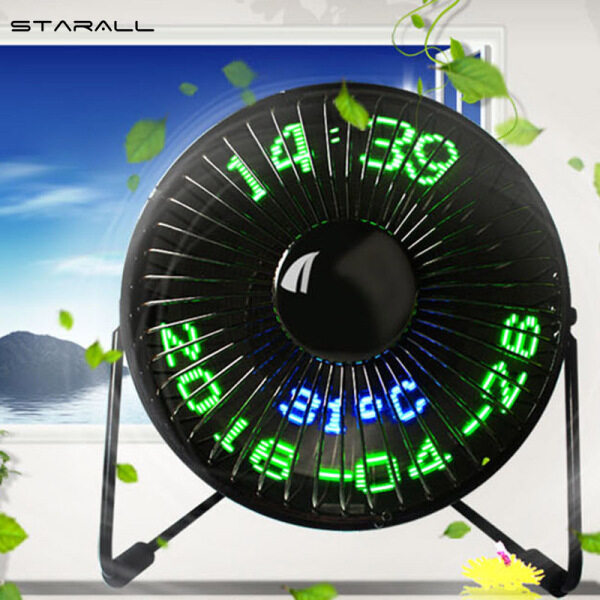 StarALL USB LED Clock Mini Fan With Real Time Temperature Display Desktop 360 Cooling Fans for Home Office