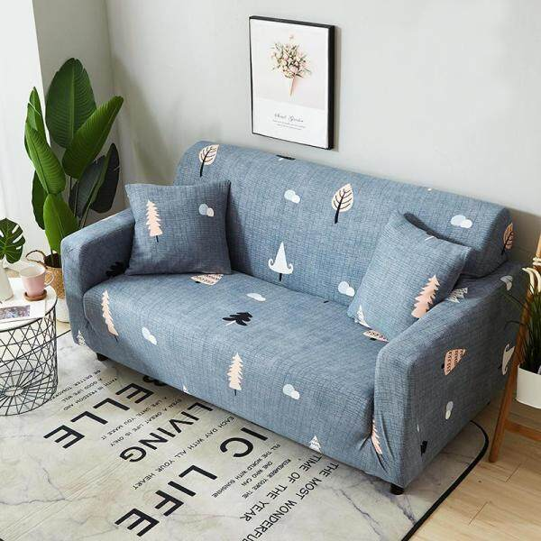 Sofa Cover 1/2/3/4 Seater Slipcover Sofa Anti-Skid Stretch Protector Lshape Sarung Couch Slip Cushionone Sofa Cover One Free Pillowcase With Foam Stick