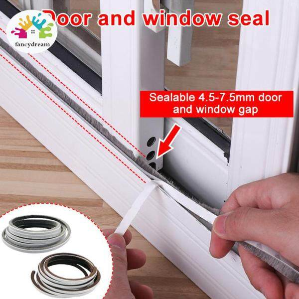 fancydream 1 Pcs Self Adhesive Seal Strip 5M Door Draught Excluder Brush Windproof Window Protector