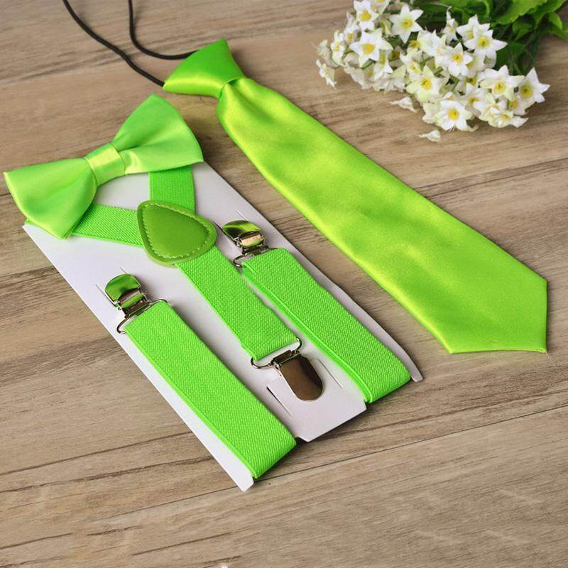 Ishowmall 2.5cm Boys Classical Suspenders Bow Tie Necktie Matching Braces Set By Ishowmall.