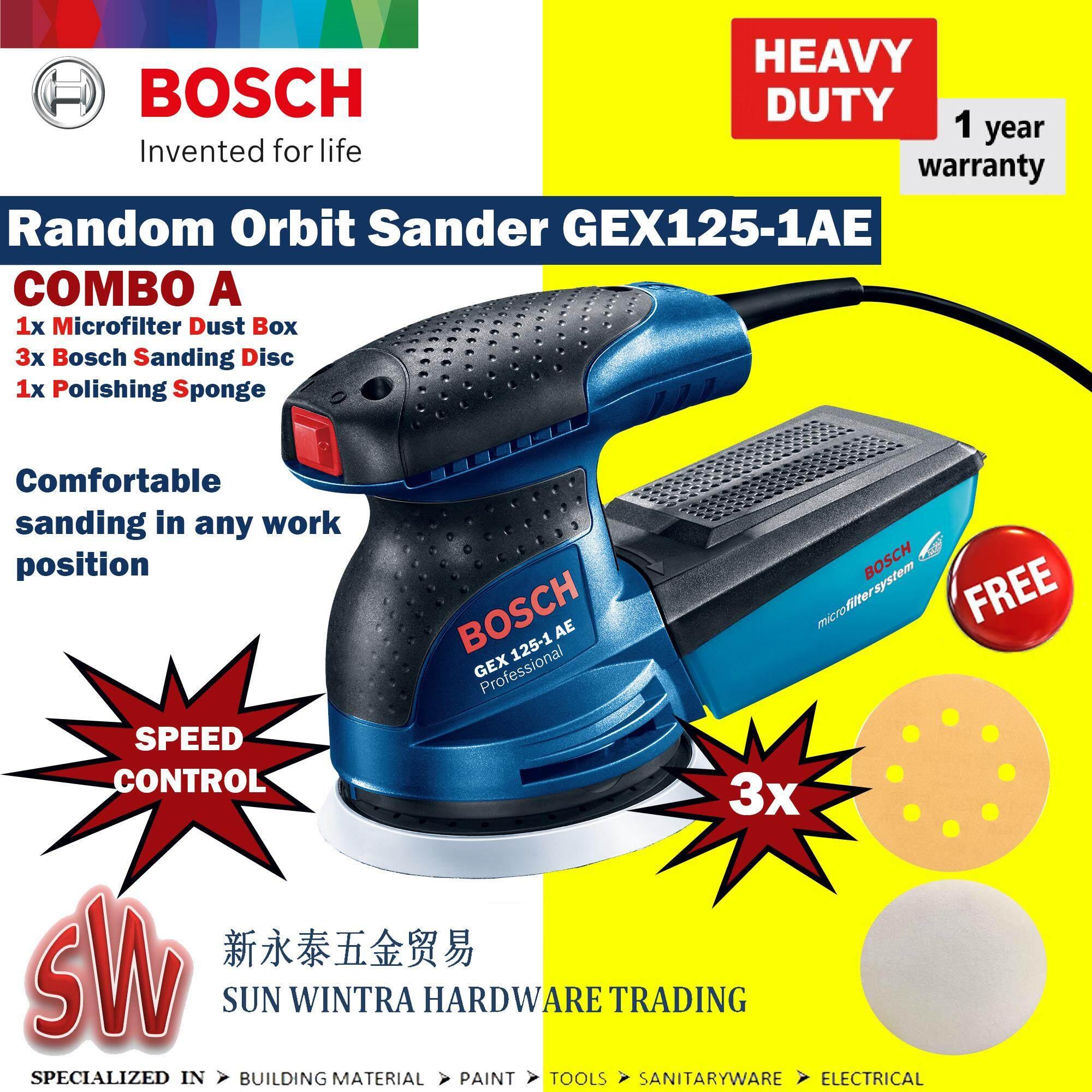 BOSCH GEX125-1AE (SPEED CONTROL) Random Orbit Sander Bosch F.O.C SANDING DISC+Polish Sponge
