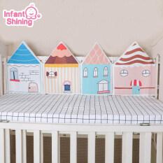 Bộ đệm giường cũi cho trẻ sơ sinh, 4 mảnh, nhiều màu sắc, chống va chạm, có thể giặt được, dành cho trẻ sơ sinh