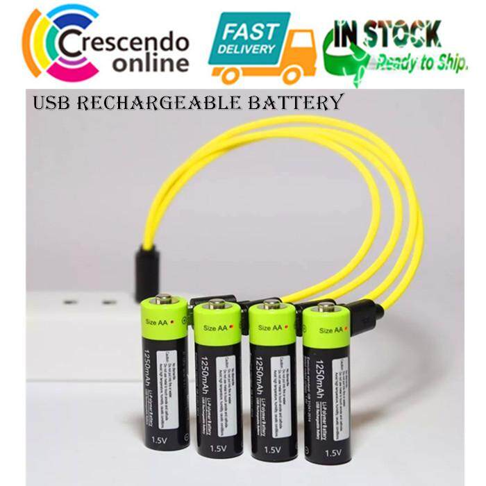 USB Rechargeable Battery AA 4pcs 1250mAh 1.5V Output Lithium Polymer Battery
