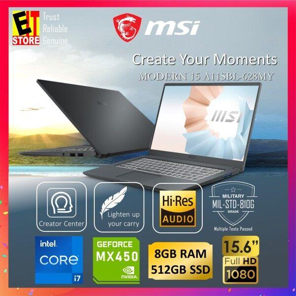 MSI MODERN 15 A11SBL-628MY CREATION LAPTOP -CARBON GREY (i7-1165G7/8GB/512GB SSD/15.6″ FHD/W10/NVIDIA MX450/1YR)+SLEEVE Malaysia
