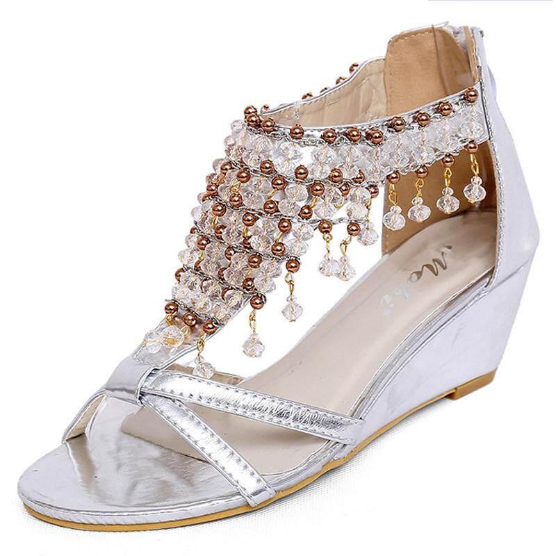 Sepatu Gót Sáng Bóng Mặt Dây Chuyền Nữ Giày Đế Xuồng Đính Hạt Giữa Gót Phong Cách Dân Tộc