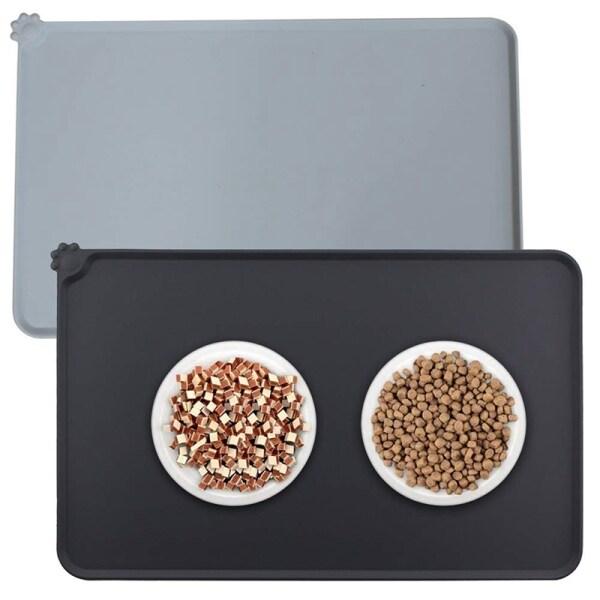 2 PCS Silicone Pet Mat Non Slip Pet Feeding Mat Waterproof Dog Cat Bowl Mat 47 x 30 cm Placemat for Small Animals