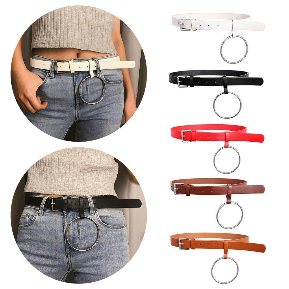 176a1453a Fashion Women Adjustable Metal Buckle Leather Belt Solid Color Waist Belts  Ladies Casual Thin Skinny Waistband