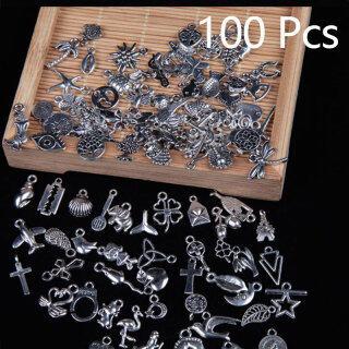 JIANI 100 Hạt Mặt Dây Chuyền Pha Trộn Bạc Tây Tạng Hạt Charm Nghệ Thuật Thủ Công Tự Làm Đồ Trang Sức Làm thumbnail