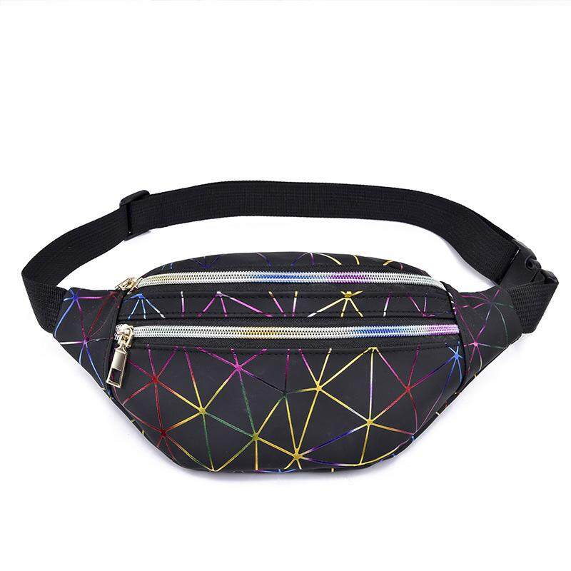 40eae5b7a50 Holographic Waist Bags Women Pink Silver Fanny Pack Female Belt Bag Black  Geometric Waist Packs Laser Chest Phone Pouch