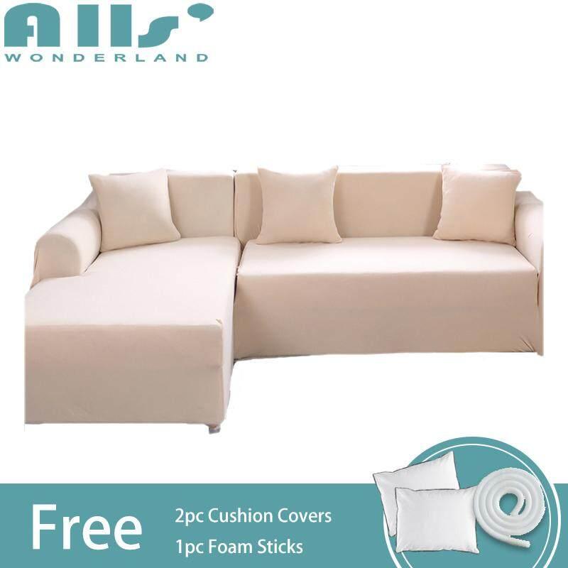 Sofa Cover 2pcs Pure Color Stretch Sofa Slipcover Elastic Sofa Cover for L Shape Sofa Furniture Protector 3 Seater+3 Seater