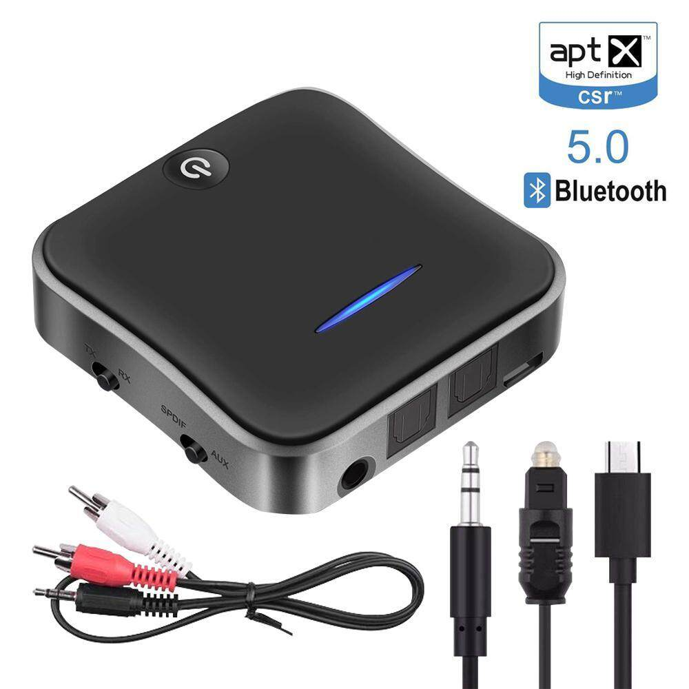 To-Honey Bluetooth 5.0 Transmitter Receiver For TV With Aptx HD And AptX Low Latency,2-in-1 Audio Adapter With Digital Optical TOSLINK And 3.5mm AUX Adapter