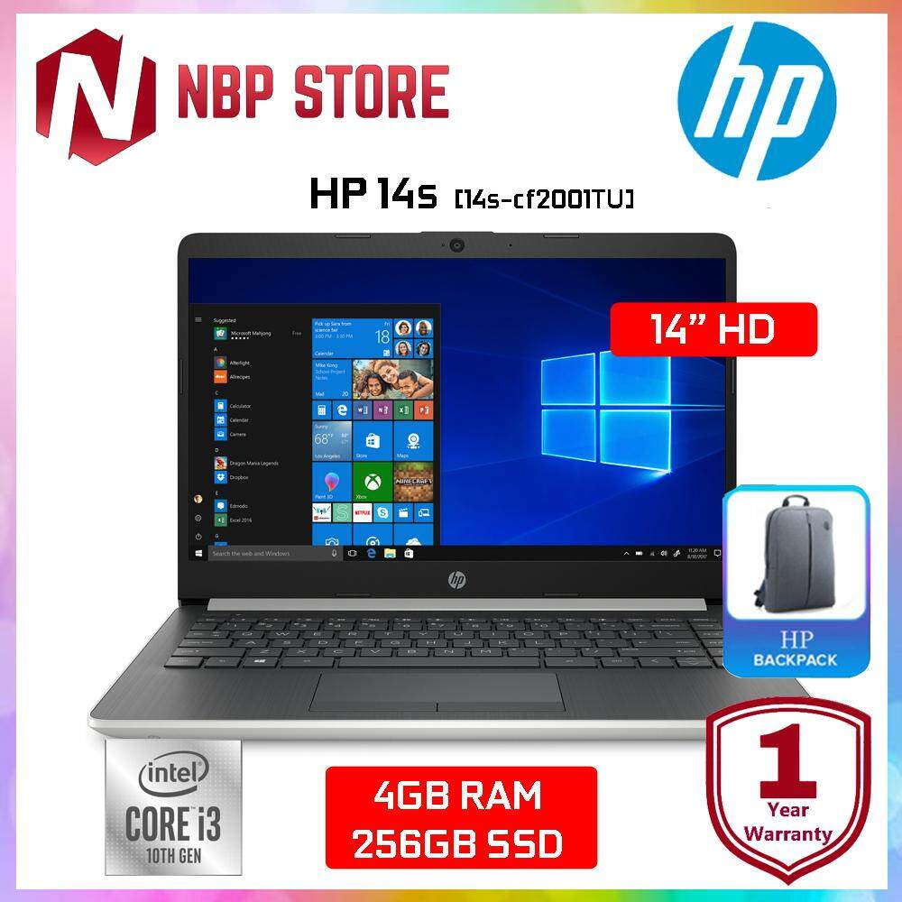 HP 14s-cf2001TU 14  Laptop Natural Silver ( i3-10110U, 4GB, 256GB, Intel, W10 ) Malaysia