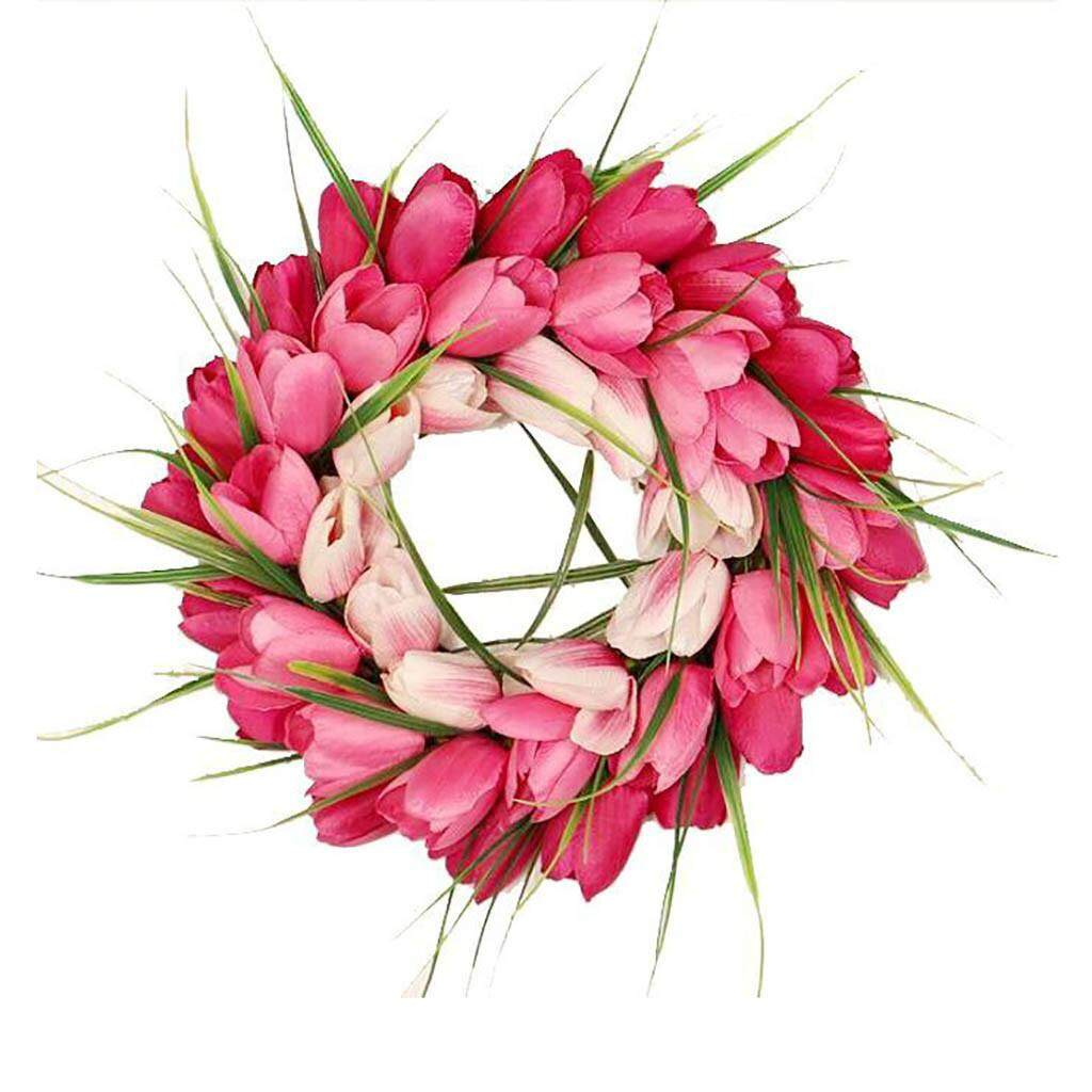 Hammshop Summer Artificial Tulip Front Door Wreath with Leaves Front Door Wall Decor