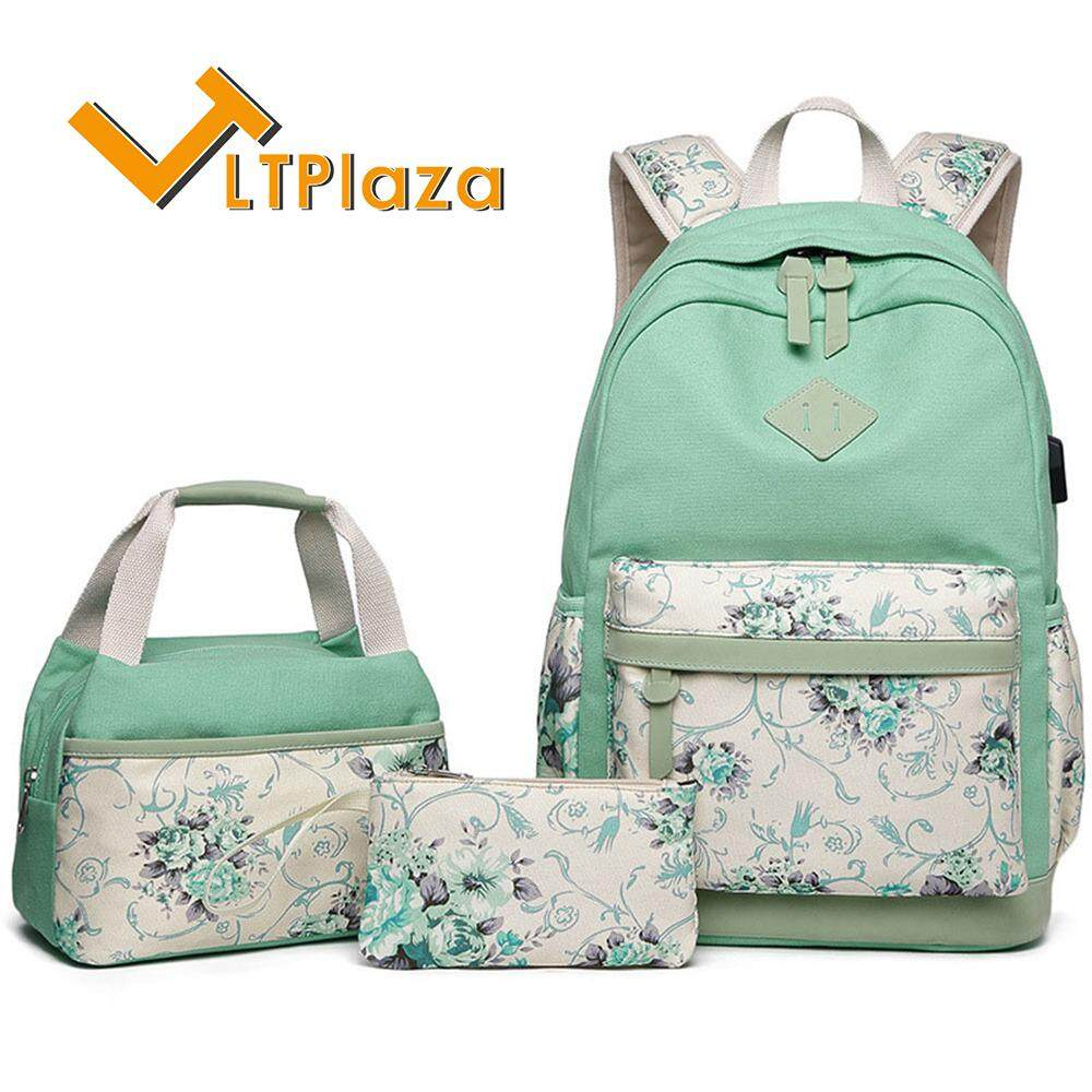 LTPlaza New Arrival Printing Flower 3Pcs/Set Fashion Backpack Canvas College School Backpack