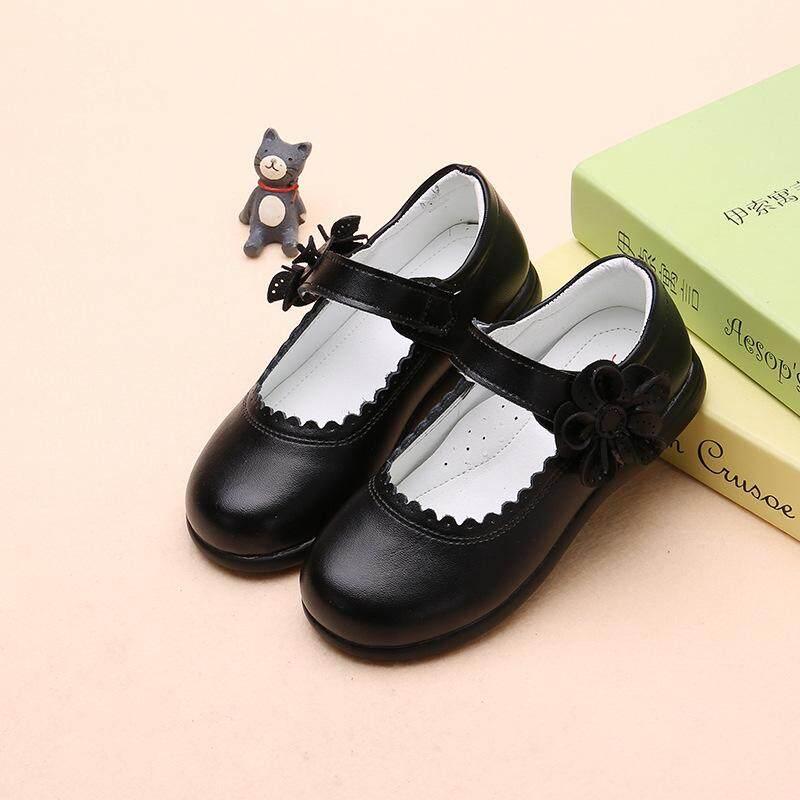 Giá bán OEM2019 Thu Phong Cách Mới Trẻ Em Giày Da Bé Gái Giày Học Sinh Công Chúa Hàn Quốc-phong cách Đậu Hà Lan Màu Đen Flat