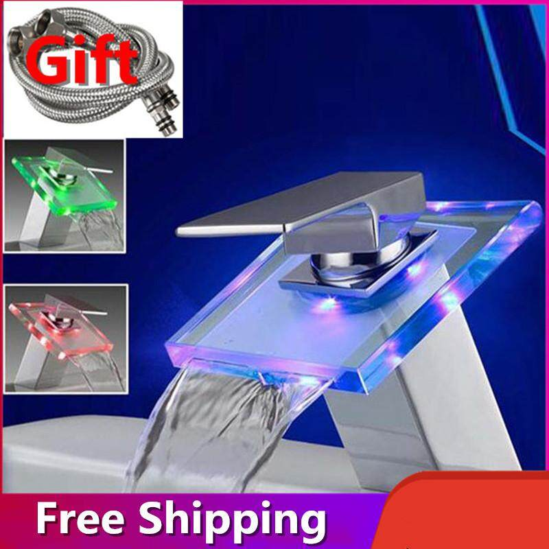Bathroom Sink Bathtub Faucet Waterfall Restroom Two Way Faucets Water Tap with LED Light [Gift Two Hose,Free Shipping]