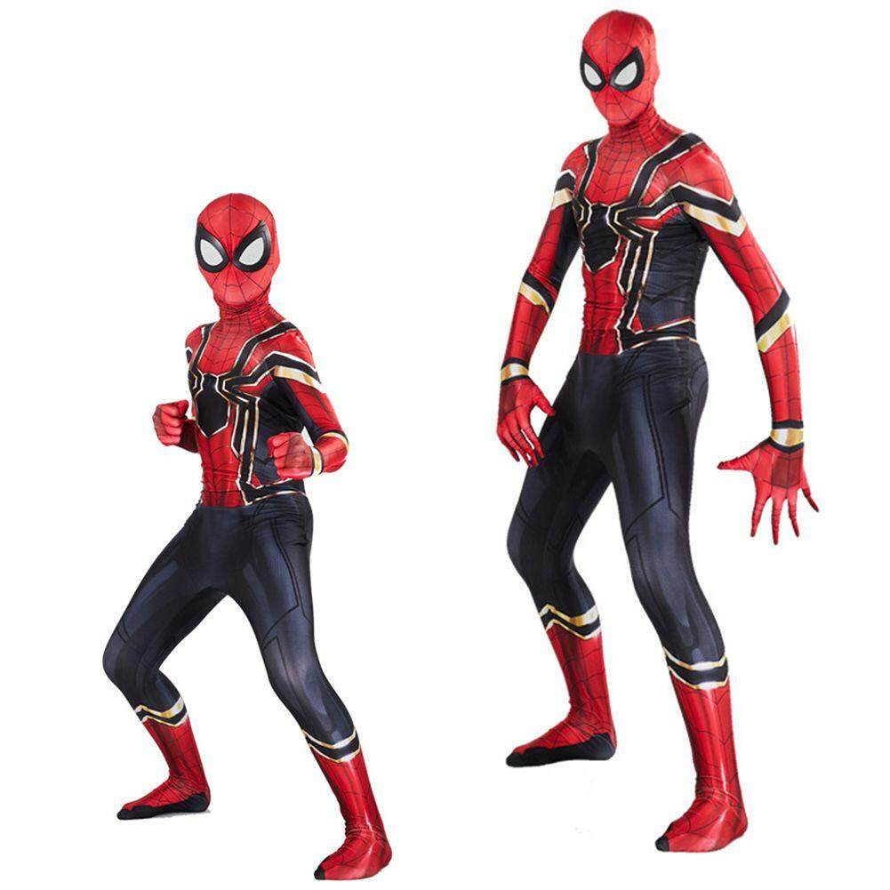 Iron Spider Man Cosplay Costumes Superhero Adult Bodysuit Kids Jumpsuits