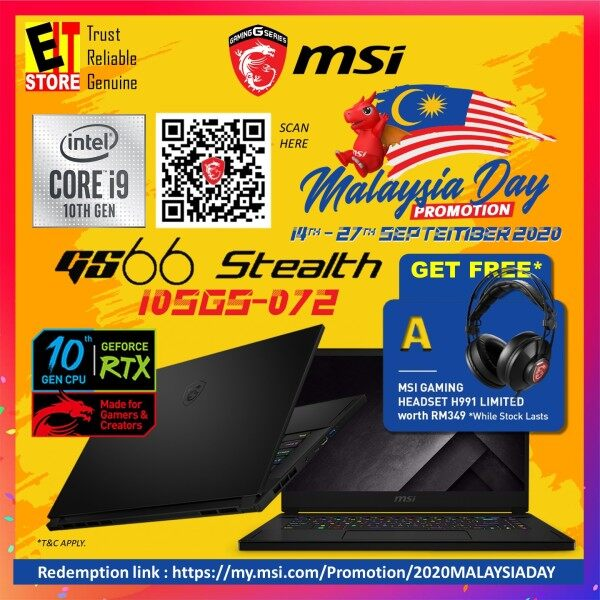 MSI STEALTH GS66 10SGS-072 GAMING LAPTOP (i9-10980HK/32GB/2TB SSD/15.6 FHD 300Hz/RTX2080 SUPER MAXQ 8GB/W10/2YRS)+BACKPACK Malaysia