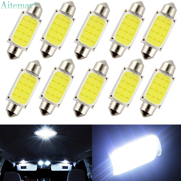 Aitemay 10 Pcs Ceiling Light 31mm Car COB 1.5W DC 12V Indoor Automobile LED Tail Light Lamp Dome Board Lamp Car Interior LED Bulbs Covered Internal Bulb