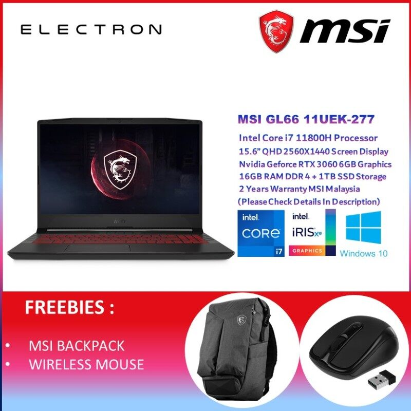 MSI GL66 11UEK-277 (i7-11800H 16GB D4 1TB PCIe NV RTX3060 6GB 15.6QHD W10 165Hz / 2 YRS) Malaysia