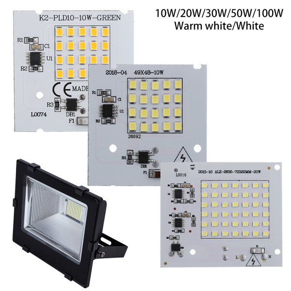 PEANSEA 1Pc New High Power 10W 20W 30W 50W 100W 220V Input Smart IC LED Chip Beads Driver Lamp SMD2835
