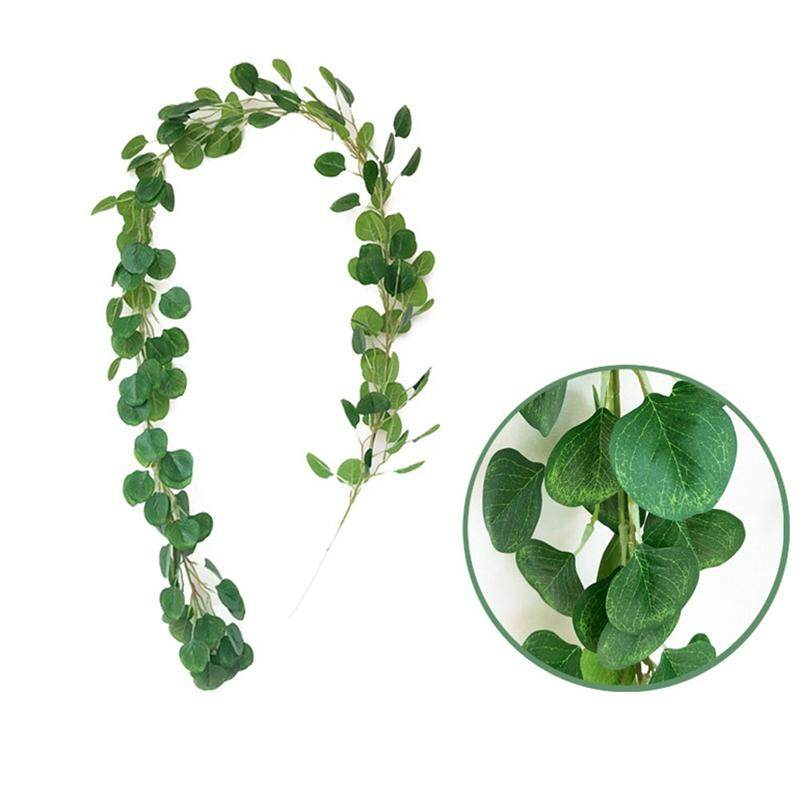 2M Artificial Eucalyptus Leaves Vine Fake Greenery Garland Wedding Party Decoration Home Table Decor(Green 1#)