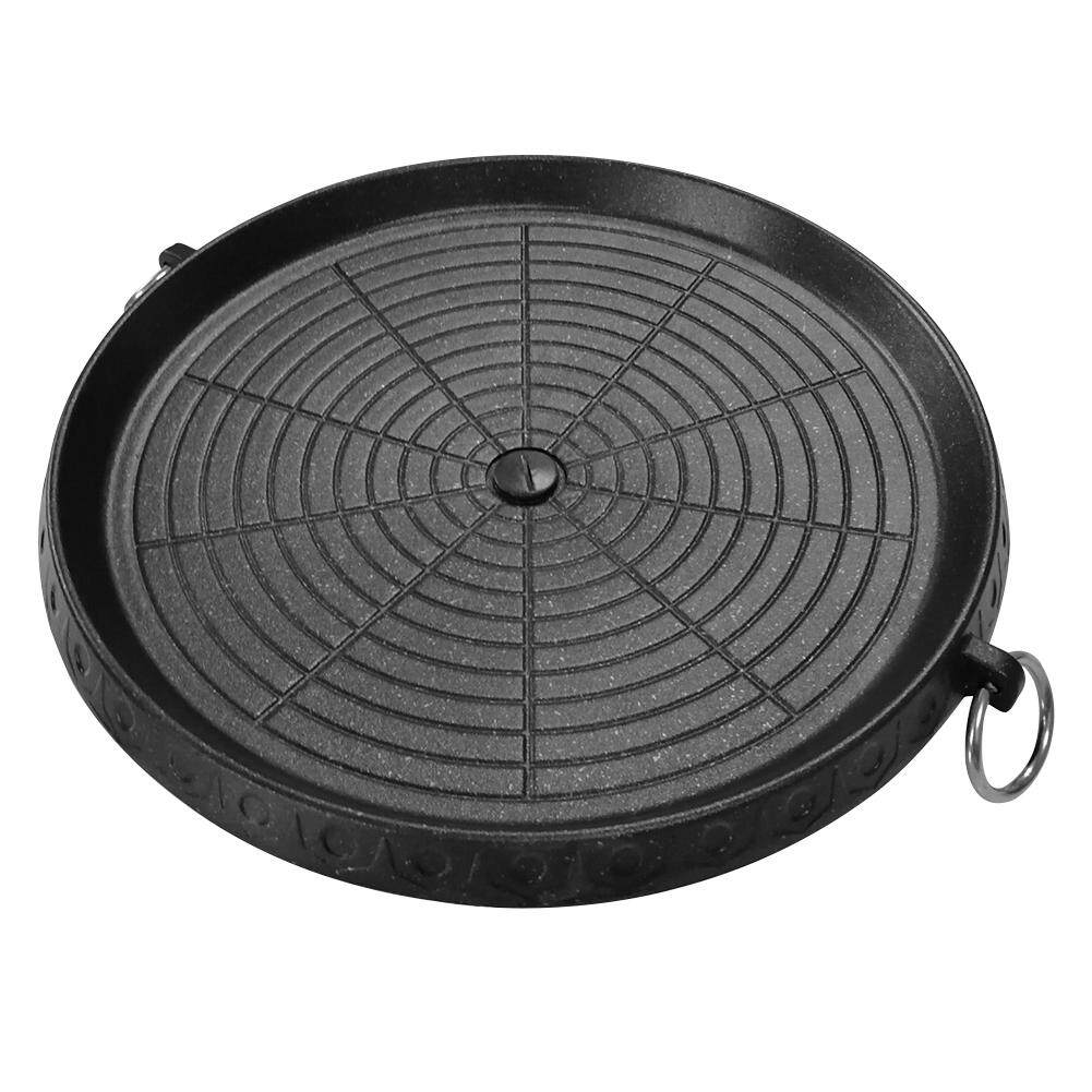 Smokeless Non Sticky Outdoor Barbecue Plate Circular Cooker With Cast Iron Plate And Cast Aluminum Baking Pan And Handles For Grilling